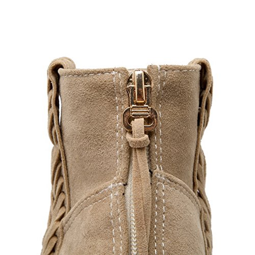 Zipper Heels Imitated Womens Kitten Beige AmoonyFashion Boots Suede Solid Low Top 5nSgfAAq