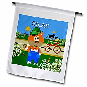 SmudgeArt Male Child Name Design - Decorative Bear Wearing Overalls with the name Silas - 12 x 18 inch Garden Flag (fl_49982_1)