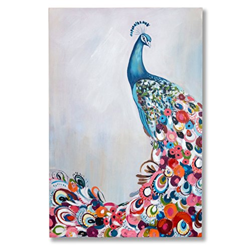 "In Liu Of | Modern Oil Painting ""Extravagance"" (Peacock) Hand-Painted Fine Acrylic on Stretched Canvas 