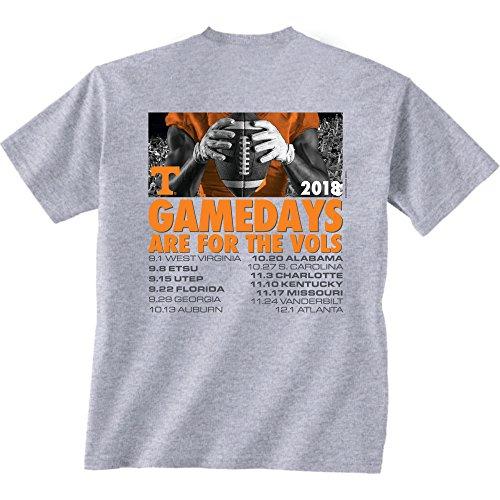 CAA Tennessee Volunteers Football Schedule Short Sleeve T-Shirt, X-Large, Dark Ash ()