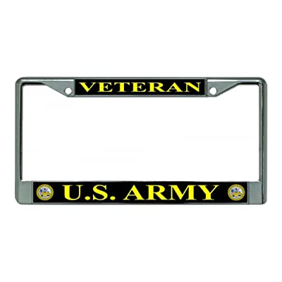 LPO U.S. Army Veteran Chrome License Plate Frame: Automotive