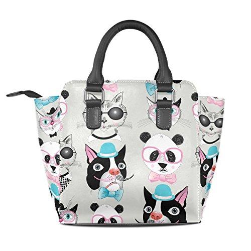 Women's Portraits Panda Handbags Leather Cat Shoulder Dog TIZORAX Hipster Bags Retro Tote qUwx1FTqX0