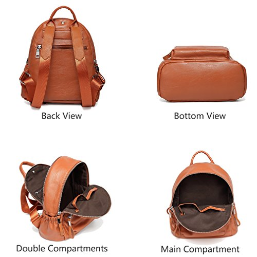 Women Fashion Backpack Brown School Girls Mini Backpack Backpack Leather Pu Lightweight Backpack Bag qnOvXZUxw