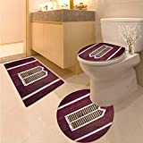 Shutters Toilet mat Set Window Frame with Shutters on a Wooden Wall Vintage Style Artwork Print Printed Bath Rug Set Burgundy and Pink