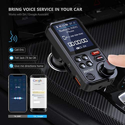 "Nulaxy Car Bluetooth Transmitter, Strong Microphone Bluetooth Car Radio Adapter with 1.8"" Color Screen for Hands Free Calls, Supports QC3.0 Charging, Treble and Bass Sound Music Player- KM30"