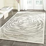 Safavieh Bella Collection BEL128A Handmade Ivory and Grey Premium Wool Square Area Rug (5′ Square)
