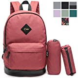 CrossLandy High School Bookbag Girls Backpack Set 3 Pieces Fits 15 Inch Laptop