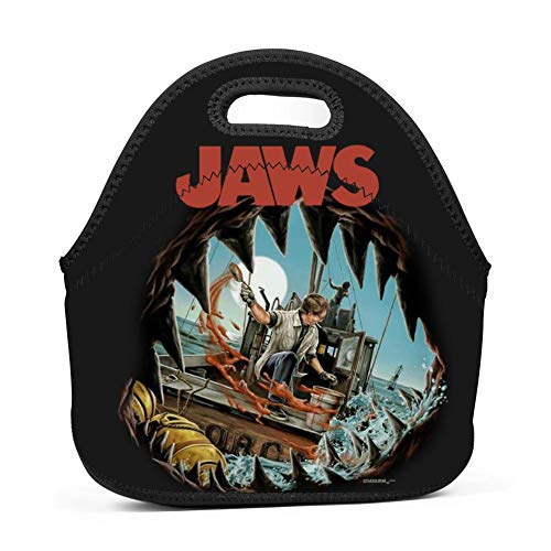 Oyangqu Neoprene Lunch Bag - Removable Shoulder Strap-Large Size Reusable Lunch Handbag, Shark Jaws Tote Waterproof Outdoor Travel Picnic Carry Case Lunchbox with Zipper for Womens Mens Boys Girls (Jaws Lunch Box)