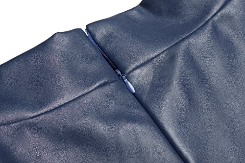 De Piel Sintética Swing Alta A Azul line Cintura Skater Largo Falda Marino Mujer Midi Zeagoo Sq5wHax