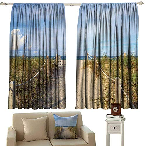 (Rod Pocket Blackout Drapes Seaside Decor Collection Golden Sandy Beach in South Miami with Fences American Style Holiday Login Relax Image Waterproof Patio Door Panel W72x72L Inches Cream Blue)