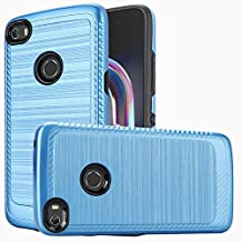 Alcatel Idol 5 / 6058 Case, Luckiefind Slim Brush Texture Hybrid Defender Armor Protective Case Cover with Stylus Pen & Screen Protector Accessory (Brush Blue)