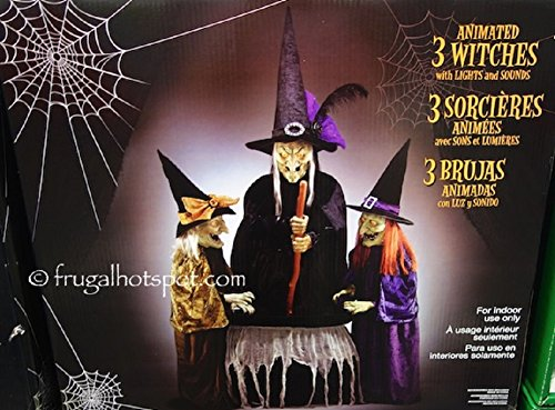 Animated halloween decor 3 witches with light and sound by Animated