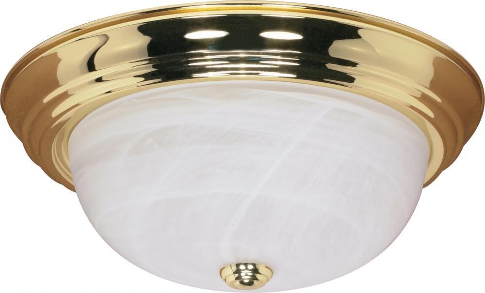 Nuvo Gothamシャンデリア 60/215 1 B002OM87L6 Polished Brass / Alabaster Glass|15インチ フラッシュ Polished Brass / Alabaster Glass