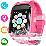 Kids Waterproof Smartwatch with GPS Tracker - Boys & Girls IP67 Waterproof Smart Watch Phone with Camera Games Sports Watches Back to School Student Gifts (01 S8 Pink (Upgrade Edition))
