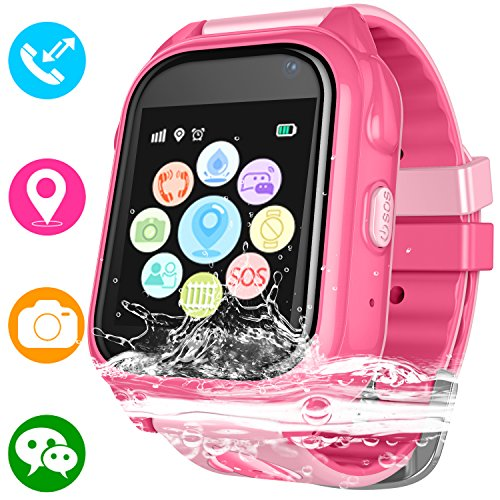 Kids Waterproof Smartwatch with GPS Tracker - Boys & Girls IP67 Waterproof Smart Watch Phone with Camera Games Sports Watches Back to School Student Gifts (01 S8 Pink (Upgrade Edition)) by Jesam