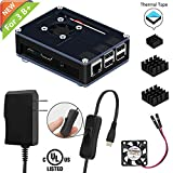 iUniker Raspberry Pi 3 B+ Case, Raspberry Pi Case With Fan Raspberry Pi Heatsink Raspberry Pi Power Supply for Raspberry Pi 3 B + & Compatible with Raspberry Pi 3 B, Pi 2 B, Pi B+ (With Power Supply)