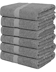 Utopia Towels 6 Pack Cotton Bath Towels, 24 x 48 Inch Lightweight, Pool Towels, Gym Towels & Hair Towels (Grey)