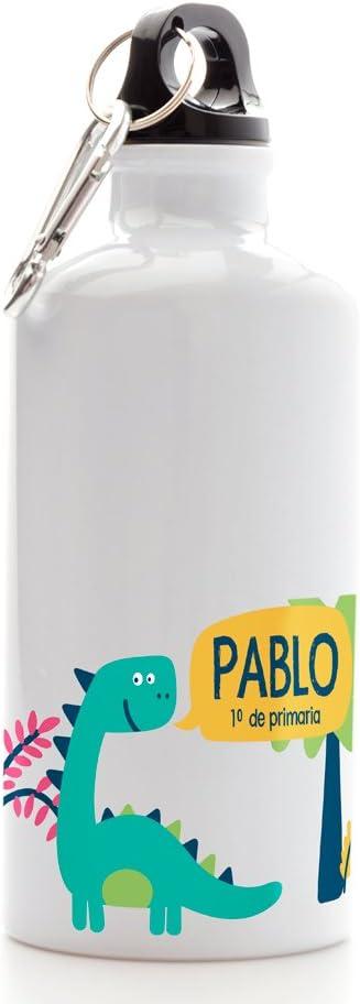Regalo Original Cantimplora Infantil de Aluminio Personalizada con Nombre y Dinosaurio para la Vuelta al Cole 500ml