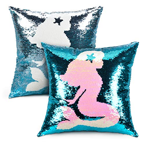 (Femery Mermaid Magic Reversible Sequin Pillow Case Sequin Throw Pillow Cover Decorative Cushion Cover Girls Birthday Gift for Couch(16