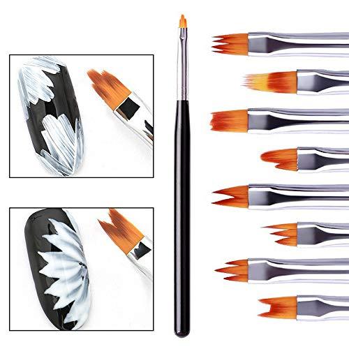Amaping 8 Pcs Nail Brush Pen Gradient Acrylic Flower Painting Brush Set UV Gel Flower Drawing Pen Purple Handle Manicure Nail Art Polish Pen Tool (Nail Art Manicure sets) ()