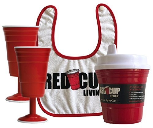 Red Cup Living Parenting Essentials Bundle Pack - 8oz Spill-Proof Sippy Cup + Snapback Cotton Baby Bib + (2) 8-ounce Reusable Wine - Snapback Glasses And