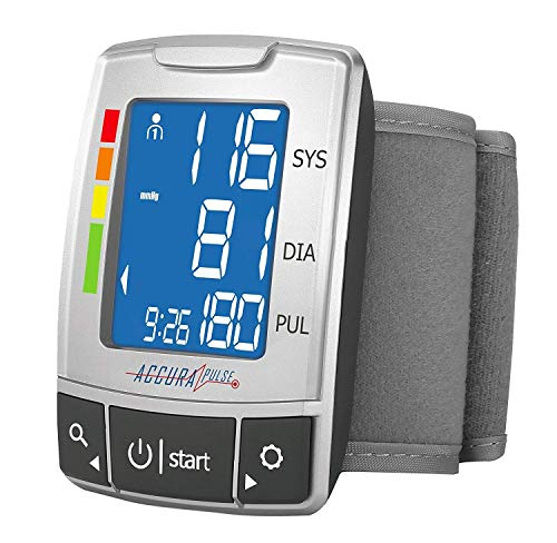 AccuraPulse Wrist Blood Pressure Monitor BP Cuff, Fully Automatic Portable Easy-to-Read LCD with Two User Memory Hypertension Indicator Irregular Heartbeat Detection