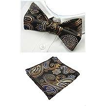 Alizeebridal Men's Plaid Polka Dot Jacquard Self-Tied Bow Tie& Handkerchief Set(Black+Gold+Blue)