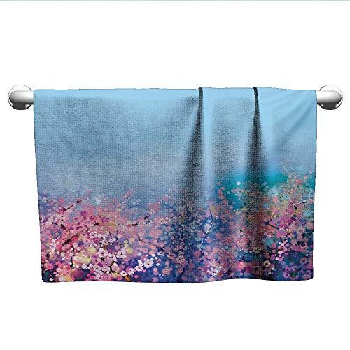 (Flower,Personalized Towels Retro Cherry Blossom Petal Perennial Herb Botanic Habitat Natural Life Spring Season Decorative Towels Pink Blue W 14