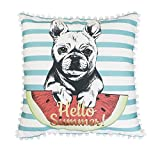 Thro by Marlo Lorenz TH016082001E 20'' x 20'' Franco French Bulldog Pillow, Aqua