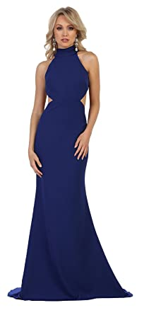 Formal Dress Shops Inc by MQ1591 Simple Prom Designer Gown (Royal, 2)