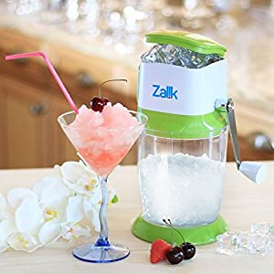 Zalik Ice Crusher Manual Hand Crank Ice Grinder For Fine Or Coarse Pieces - Strongest Heaviest Duty With Large 50 OZ Bucket - 430 Stainless Steel Blade - Essential Kitchen Tool - Bar Accessory