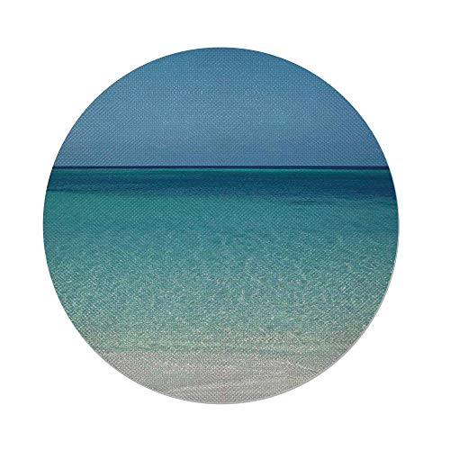 Maple Desk Atlantic (iPrint Cotton Linen Round Tablecloth,Ocean,Clear Water at the Beach in Atlantic Sea Cuba Coasts with Fantastic Sky Scenery Art,Cream Turquoise,Dining Room Kitchen Table Cloth Cover)