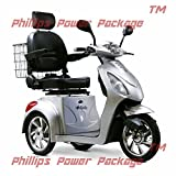 E-Wheels - EW-36 Slowpoke Scooter with Electromagnetic Brakes - 3-Wheel - Silver - PHILLIPS POWER PACKAGE TM - TO $500 VALUE
