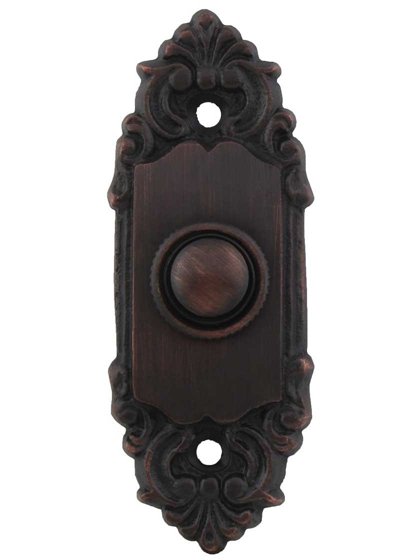 House of Antique Hardware R-010MG-313-OB Petite French Baroque Solid-Brass Doorbell Button in Oil-Rubbed Bronze