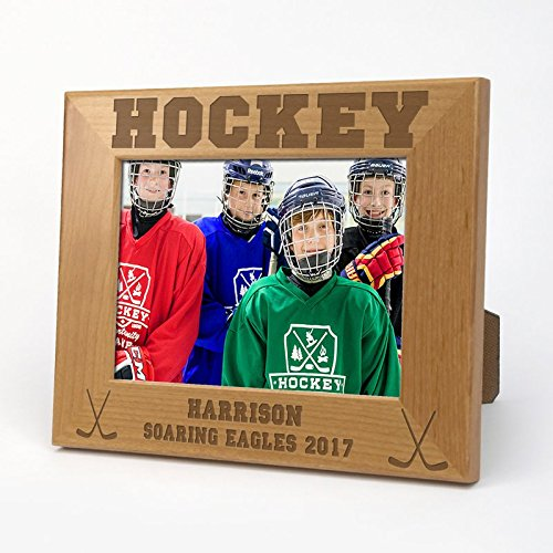 "Hockey Personalized Wood Picture Frame Overall Size: 6 1/2"" x 8 1/2""/ Holds a 4"" x 6"" Photo"