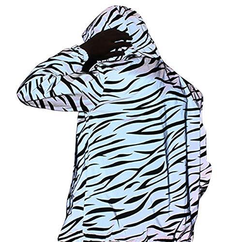 (XuBa Men Women Waterproof Zebra Stripes Printing Reflective Double Layers Jacket as Shown M)