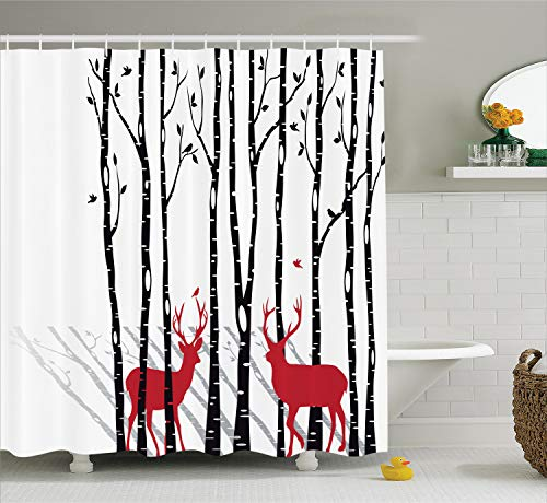 Ambesonne Antlers Decor Shower Curtain Set, Deer Tree Forest Backdrop with Red Holiday Theme Flying Birds Leaves Branch Reindeer, Bathroom Accessories, 69W X 70L Inches, White Red -