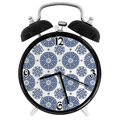 Vintage French Country Style Floral Circular Pattern Lace Ornamental Snowflake Design Print, Metal Double Bell Alarm Clock, Family Bedroom Travel School Battery Operation Light (Black) 3.8in10.2cm