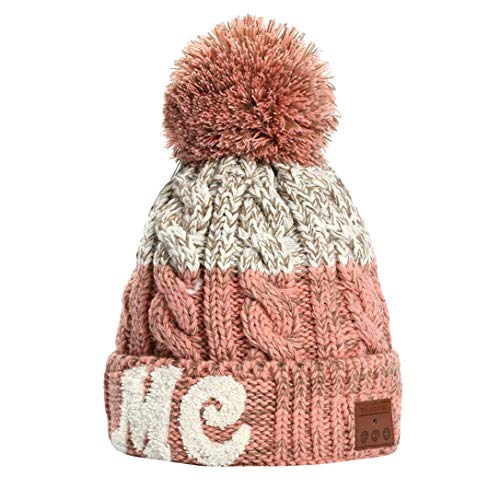 Apolonia Christmas Hat Wireless Bluetooth Beanie Hat Detachable Stereo Speakers Outdoor for Youth Girls Pink
