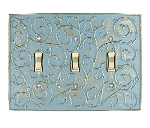 - Meriville French Scroll 3 Toggle Wallplate, Triple Switch Electrical Cover Plate, Cameo Blue with Gold