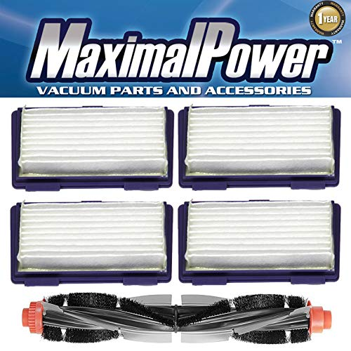MaximalPower HEPA Filters + Replacement Combo Brush for XV-11 XV-12 XV-14 XV-15 XV-21 (4 Filters + 1 Brush) by MaximalPower