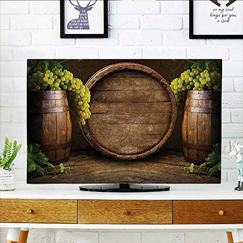 (Jiahonghome Cover for Wall Mount tv Collection Still Life of Wine with Wooden Keg Ancient Old Fashioned Wine Keeper Cover Mount tv W30 x H50 INCH/TV 52