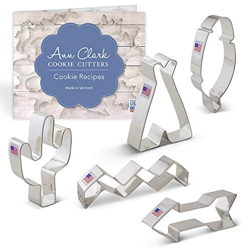 Tribal Cookie Cutter Set with Recipe Booklet - 5 piece - Feather, Teepee, Cactus, Chevron Pattern and Arrow - Ann Clark - USA Made Steel