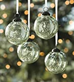 Crackle Glass Ornaments, Set of 4, Green