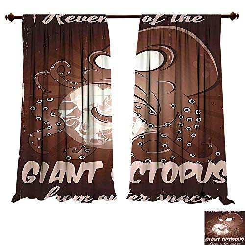 fengruiyanjing-Home Thermal Insulated Grommet Retro Style Old Poster Print of Monster Alien with Tentacles Attacking Earth Brown Blackout Curtains for Bedroom (W96 x L96 -Inch 2 Panels) -