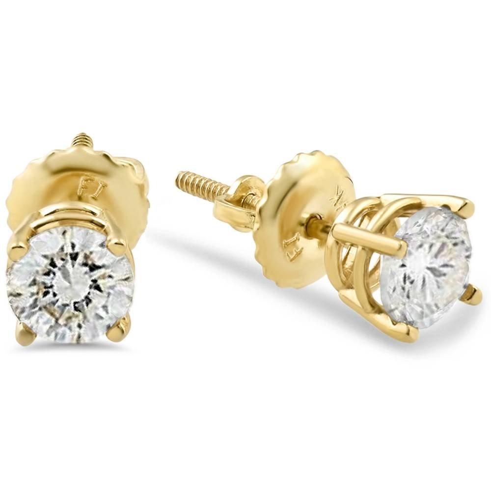 1/2ct Diamond Studs Screw Back Earrings 14k Yellow Gold