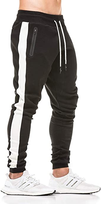 Men Gym Slim Pleated Pants Casual Joggers Sweatpants Tracksuit Trousers Sports