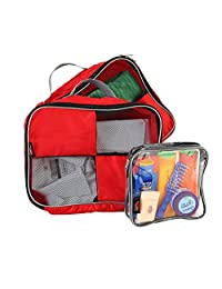 "Packing Cubes / Organisers For Easy Packing And Toiletry Bag 9x9x4.5"" Hand Luggage Approved Solution (Red)"