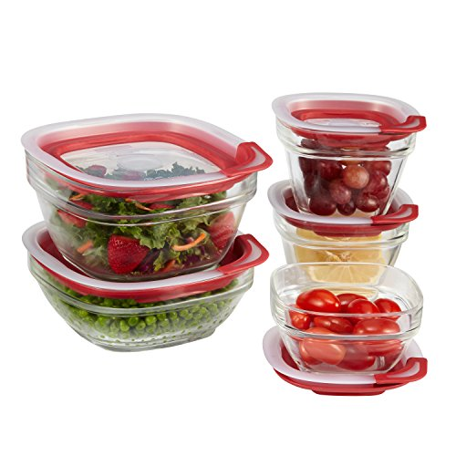 Rubbermaid Easy Find Lids Glass Food Storage Containers, Racer Red, 10-Piece Set ()