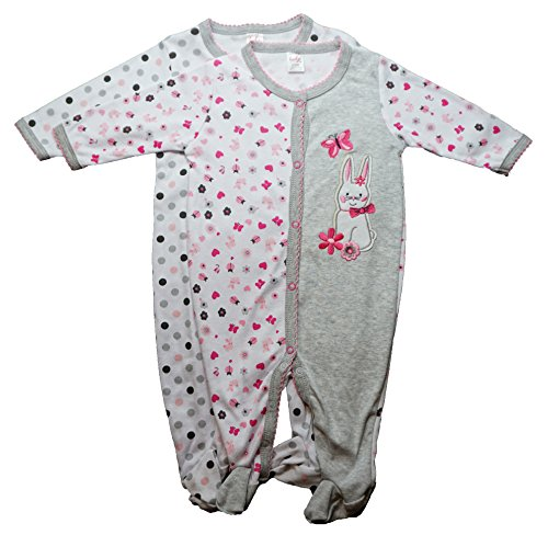 Baby Bunny Rabbit Funny Baby Girl Novelty Sleep N' Play Footed Sleepers | 2 Pack | 6-9 Months